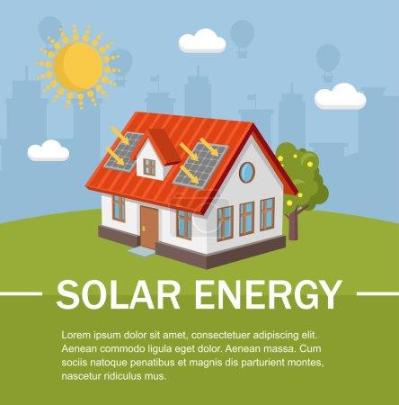 Illustration pour Panneaux solaires maison écologie - image libre de droit