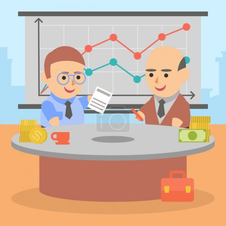 Ilustración de Vector clipart dos empresarios celebraron un contrato mutuamente beneficioso - Imagen libre de derechos