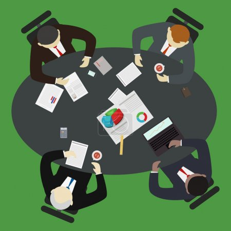 Illustration for Businessman having a meeting around a table vector illustration. Brainstorming and teamwork concept. - Royalty Free Image