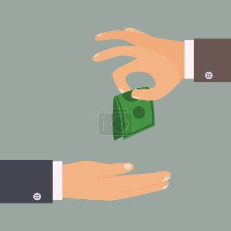 Handing money Giving tips concept.