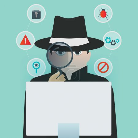 Personal computer safety inspector vector illustra...