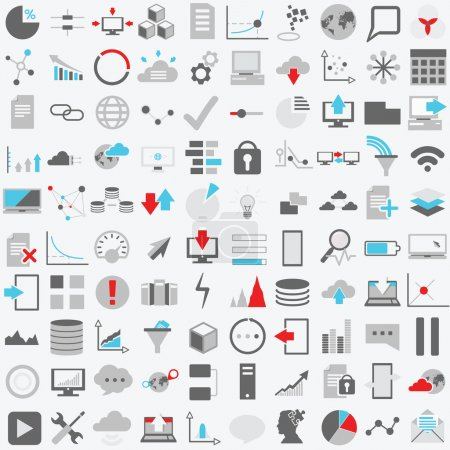Set of one hundred technology  icons