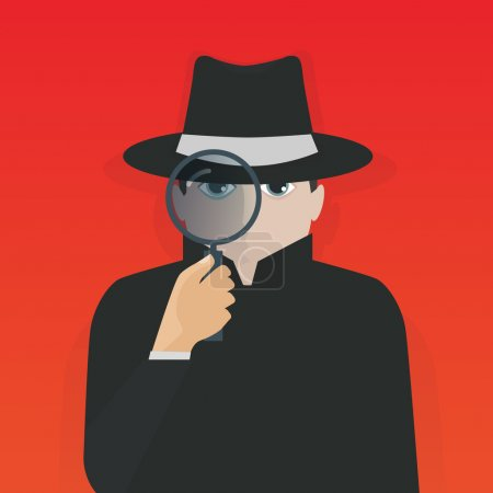 Illustration for Detective holding a magnifier vector illustration. - Royalty Free Image