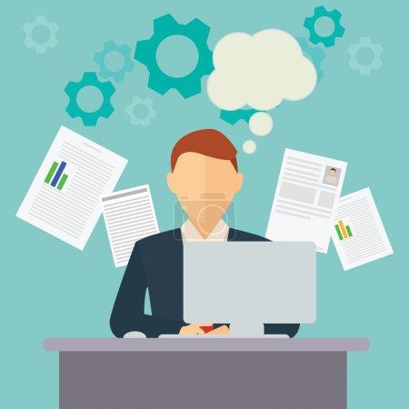 Illustration pour Collecte et traitement des données par les employés de bureau illustration vectorielle . - image libre de droit