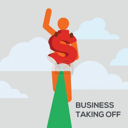 Illustration for Stick man figure flying among the clouds with a dollar sign jet pack vector illustration. Business taking off concept. - Royalty Free Image