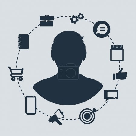 Man surrounded by communication and work related icons