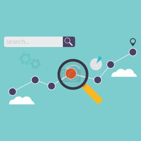 Illustration pour Icônes de recherche Web et de référencement en illustration vectorielle de style plat. Analyse du concept de croissance de la recherche . - image libre de droit