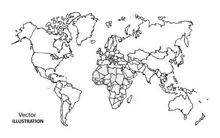 Illustration pour Carte du monde avec pays, Illustration vectorielle - image libre de droit