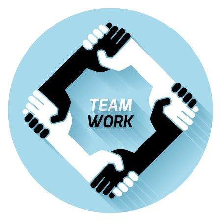 Illustration pour Concept créatif poignée de main icône noir blanc. formation en affaires et en finance. idée, équipe, meilleure affaire, travail d'équipe. Conception vectorielle plate - image libre de droit