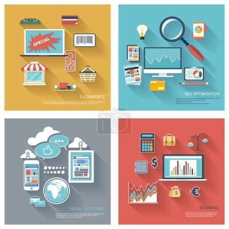 seo, social network, e-commerce, business flat