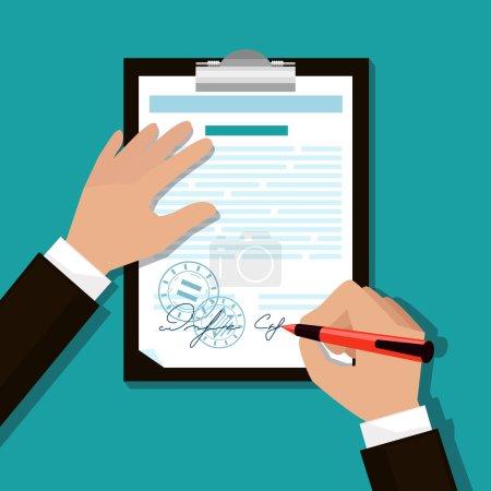 Illustration pour Homme signe document estampillé poignée met sa signature dessin animé style design plat - image libre de droit