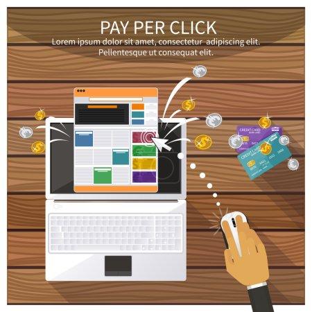Illustration pour Conception plate illustration vectorielle moderne concept de salaire par clic modèle de publicité sur Internet lorsque l'annonce est cliquée. Isolé sur fond élégant - image libre de droit