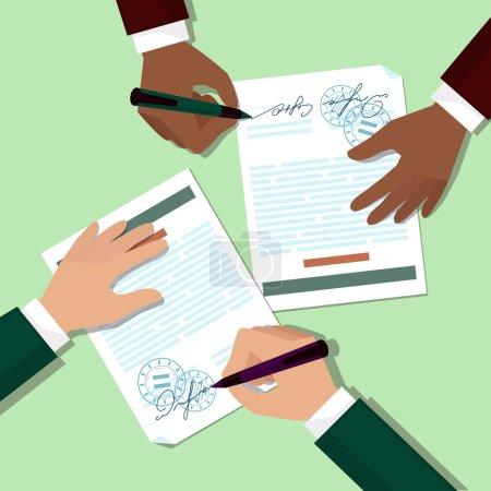 Illustration pour Deux partenaires signent document estampillé poignée met sa signature dessin animé style design plat - image libre de droit