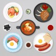 Food business flat lay idea. Food icons top view. ...