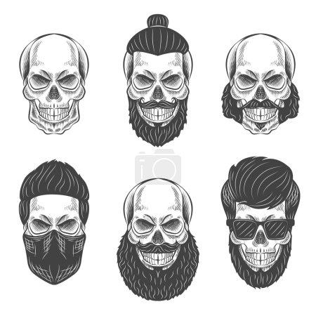 Illustration pour Crânes avec cheveux Hipster et barbes, fashion vector illustration jeu - image libre de droit