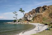 Beautiful bay with clear blue-green water, lake Baikal, Mountain Burhan