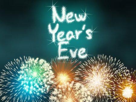 Foto de Año nuevo aniversario fuegos artificiales celebración fiesta fuegos artificiales color turquesa - Imagen libre de derechos