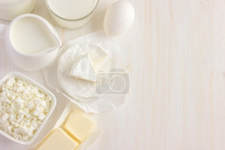 Various dairy products  on white background