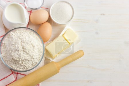 Ingredients for baking on the white wooden table