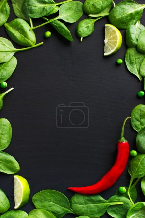 Spinach and red chili pepper