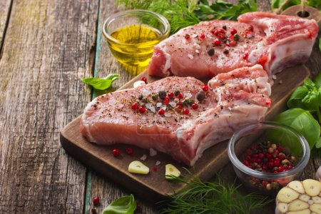 Pork chops with spices and herbs