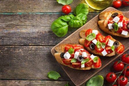 Bruschetta with tomato and feta cheese