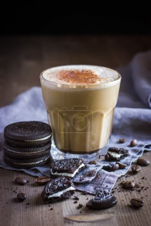 glass of  coffee drink and  cookies