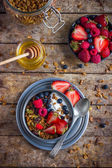 Healthy breakfast. Granola with fresh berries and  yogurt