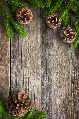 Fir branches and pine cones on wooden background