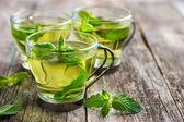 Hot mint tea in glass cup