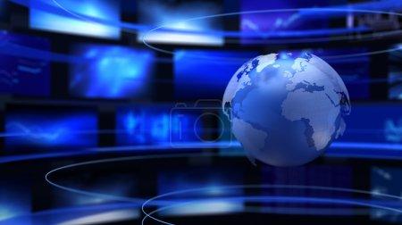 Photo pour Terre, carte du monde et moniteurs . - image libre de droit