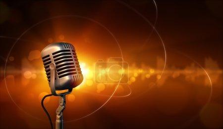 Photo pour Microphone rétro et fond abstrait avec des ondes sonores - image libre de droit