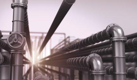 Photo pour Réseau industriel avec oléoducs - image libre de droit