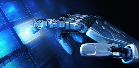 Photo pour Main de robot et menu - image libre de droit