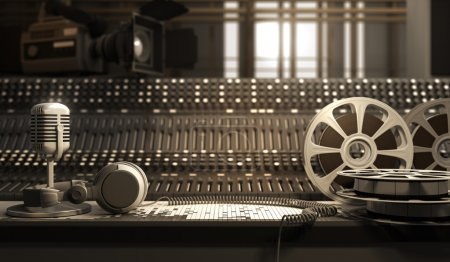 Reel with tape and studio equipment...
