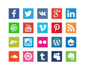 Collection of Style Social Media Icons for Internet Site isolated on white background