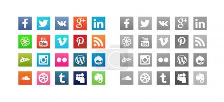 Illustration pour Ensemble d'icônes de médias sociaux avec style couleur hover - image libre de droit