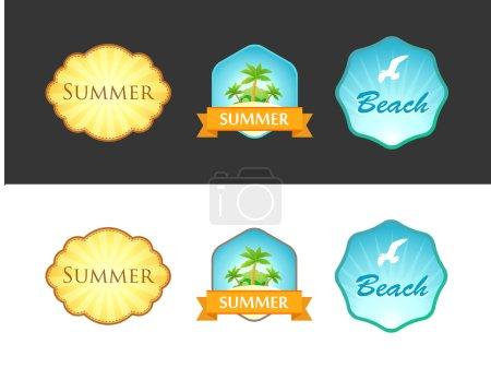 Set of Emblem with Summer Illustrations