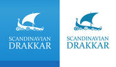 Logo with Nordic Drakkar on white and blue background isolated