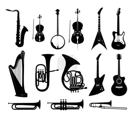 Illustration pour Silhouettes d'Instruments de musique en noir et blanc isolé, Illustrations vectorielles - image libre de droit