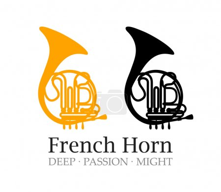 Illustration for Logo with French Horn Silhouette,Vector Illustrations of Musical Instrument with caption. - Royalty Free Image