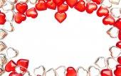 Skupina ze srdce červené a bílé sklo