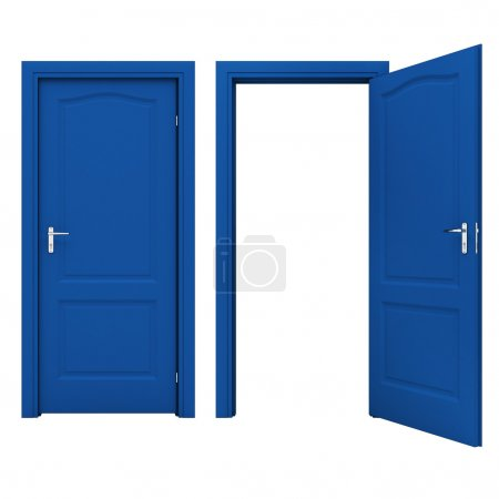 Open blue door isolated on a white background