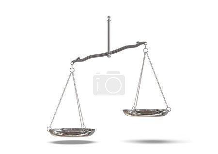 Photo pour Argent balance de la justice isolé sur fond blanc avec un tracé de détourage. - image libre de droit
