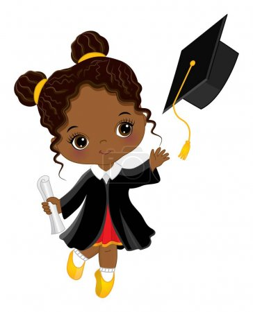 Illustration for Happy little graduation black girl with diploma. African American girl is dressed in in black gown throwing graduation cap. Graduation little girl vector illustration. - Royalty Free Image