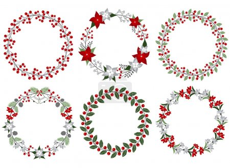 Illustration for Set of 6 Christmas wreath - Royalty Free Image