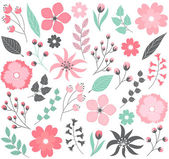 Pastel floral set with flowers and leaves