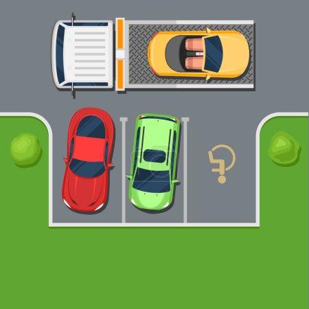 Illustration pour Un camion remorque emmène une voiture garée dans l'endroit handicapé. Violation de la vue sur le parking. Couleur Fond d'illustration vectoriel de style plat pour la conception Web ou l'impression - image libre de droit