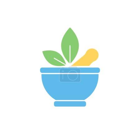 Illustration for Pharmaceutical mortar and leaf, alternative medicine sign. Vector flat color - Royalty Free Image