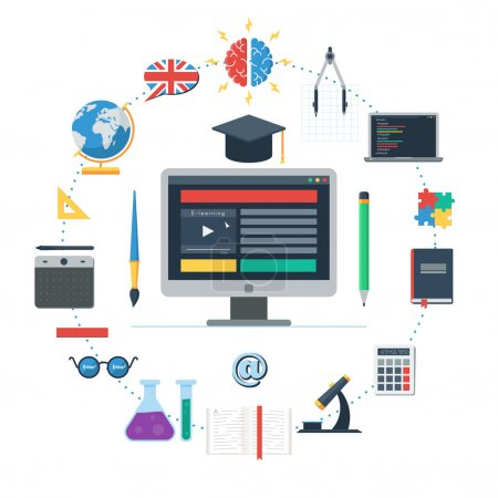 Illustration for E-learning concept, IT Communication, internet network as knowledge base. Set of flat design icons for web and mobile services and apps. Vector Icons for online education for web design banner or - Royalty Free Image